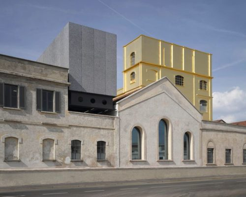 Gold leaf facade of Fondazione Prada