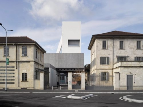 Old meets new with original buildings and the Torre building at Fondazione prada