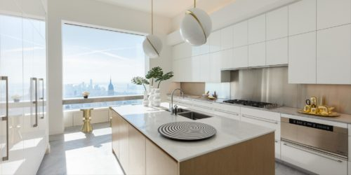 432 Park Avenue Kitchen with views, breakfast bar and marble benchtop