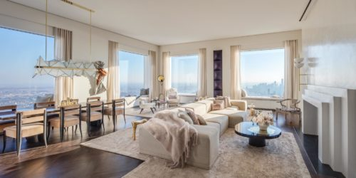 Living and dining room of 432 Park Avenue