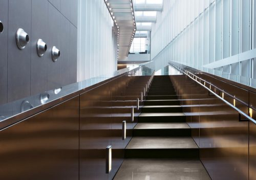 Stairs inside Zegna HQ clad in porcelain