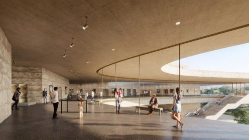 A render of the new LACMA renders showing natural materials and glass