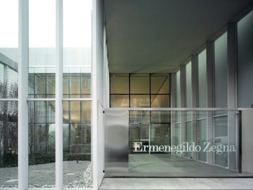The exterior of the Zegna HQ showing the labels logo