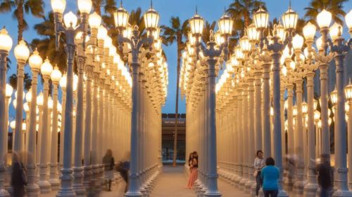 "LACMA Public Art ""Urban Lights"" at night"