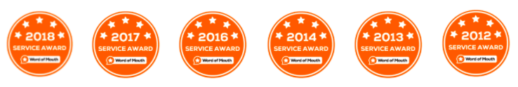 Service awards, orange circles, 5 stars, 2012 - 2018, WOMO award